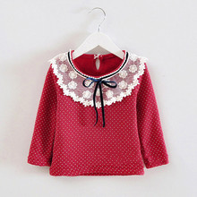 Cute Cozy Baby Girl Lace Bowknot Neck Tops Blouse Kid Child Fleece dot Tops Shirts clothing for fall