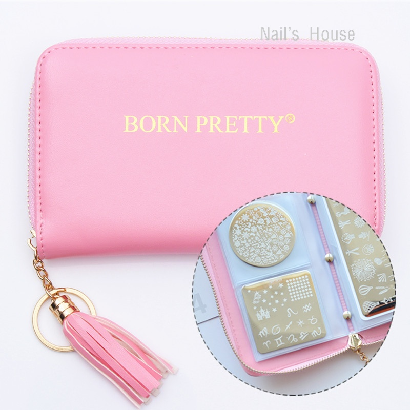 BORN PRETTY 24 Slots Pink Nail Stamping Plate Holder Case Round Square Rectangular Nail Art Plate Organizer PLATES NOT INCLUDED vibration of orthotropic rectangular plate