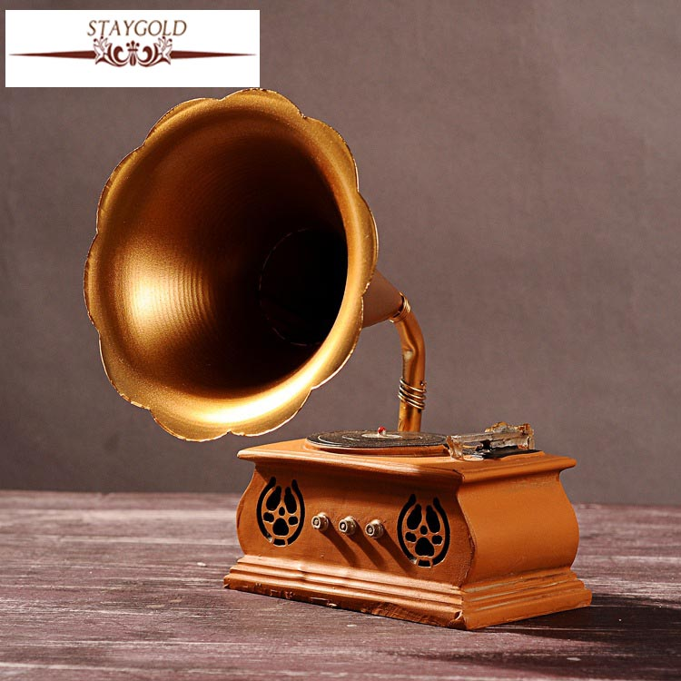 Zakka Home Decoration Restore Ancient Ways Bar Vintage Home Decor  Phonograph Home Decoration Accessories 28*18*15cm