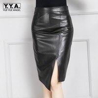 Новое поступление осень Лидер продаж женские юбки из натуральной кожи уличная Высокая талия тонкий обёрточная бумага Jupe овчины разделение