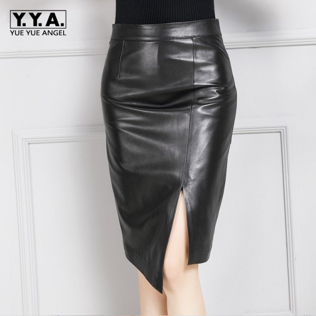 New Arrival Autumn Hot Sale Woman Skirts Real Leather Streetwear High Waist Slim Wrap Jupe Sheepskin Split Bodycon Faldas Woman