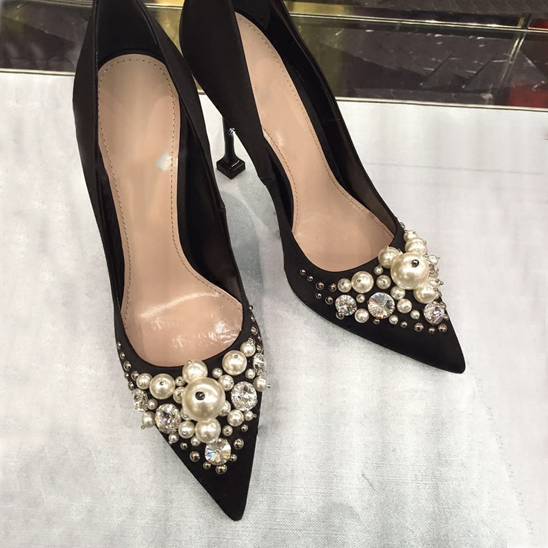 ФОТО The spring of 2017 new SATIN HEELS shallow mouth pointed shoes shoes female temperament with ultrafine diamond pearl shoes