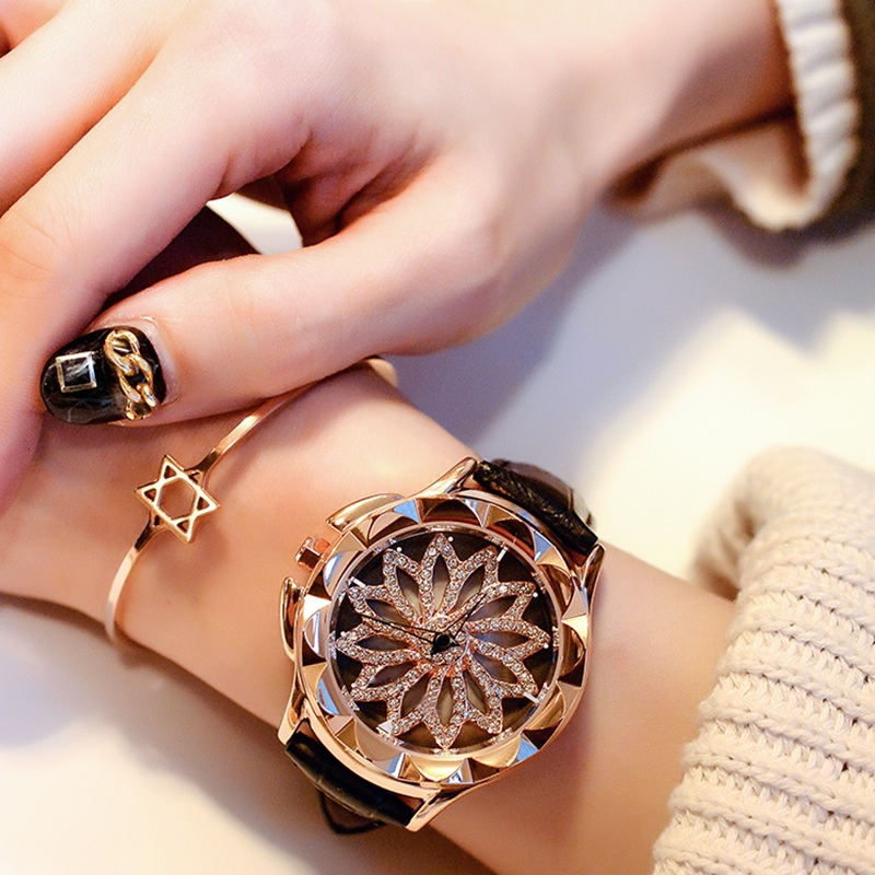 Rose Gold Unique Dial Desgin Luxury Bracelet Ladies  Wrist Watches Ladies 2018 New Fashion Flowers Rhinestone Dress Quartz Clock