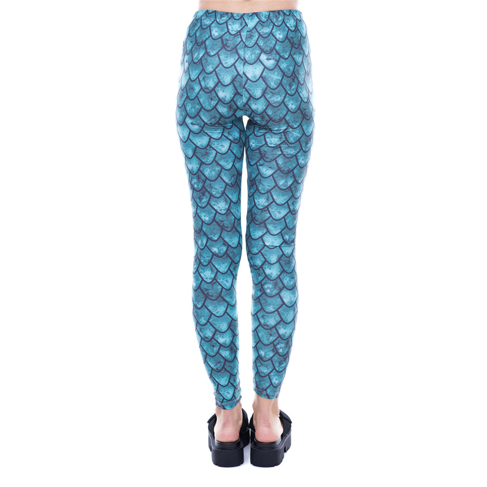 Fccexio 2019 New Women Gym Leggings High Waist Fitness Legging Dragon Scale Printed Leggins Female Pants Workout Slim Trousers
