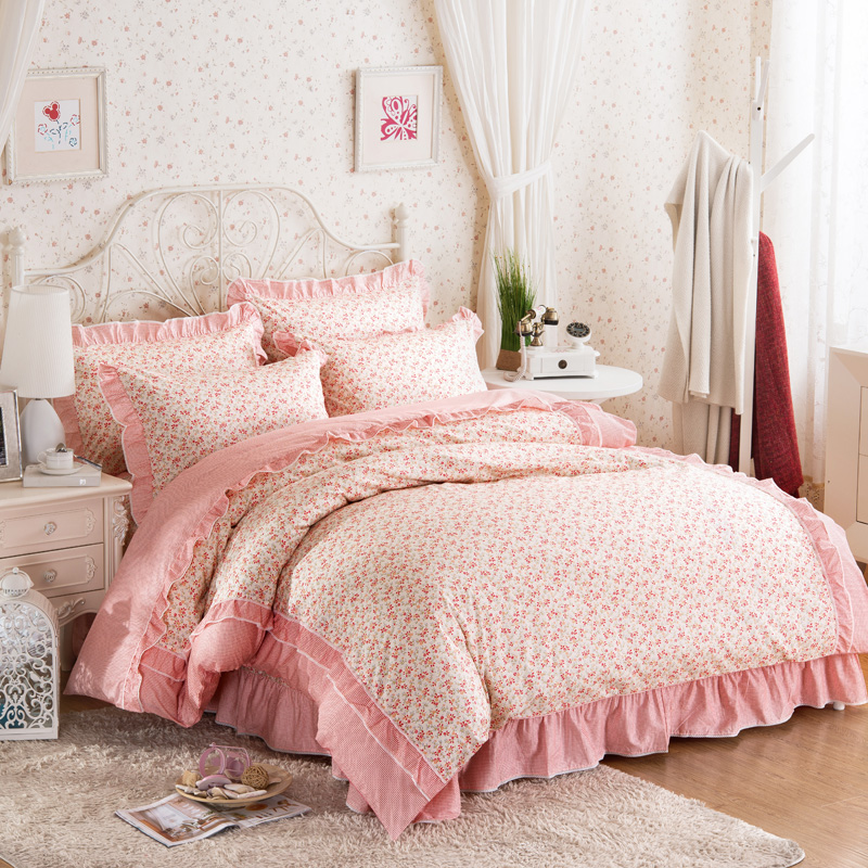 Korean 100% Cotton Ruffles Duvet Cover Set Home Bedding Set Four Pieces Sheet Bed Linen Queen SizeKorean 100% Cotton Ruffles Duvet Cover Set Home Bedding Set Four Pieces Sheet Bed Linen Queen Size