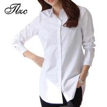 Chemises Long Femmes Blanc Automne Print ...