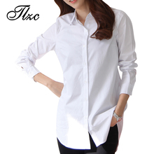 Autumn Spring Women Long White Shirts Size S-2XL All-match Good Quality Long Sleeve Lady Casual Cotton Blouse & Tops