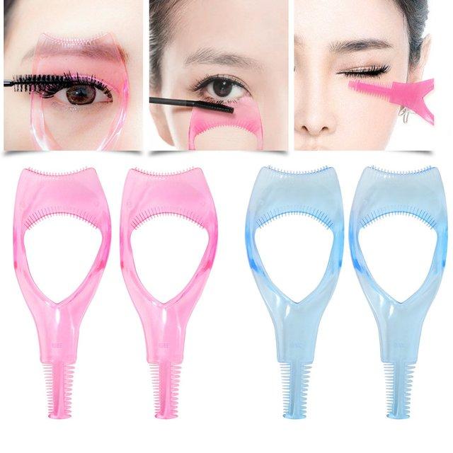 02a63fbc5a2 3 in 1 Eyelash Tools Makeup Mascara Shield Guard Curler Applicator Comb  Guide Upper Lower Eyelid Apron Eyelash Comb 2PCS