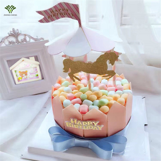 2017 Direct Selling Sale 2pcs 1 Set Carousel Horse Cake Topper