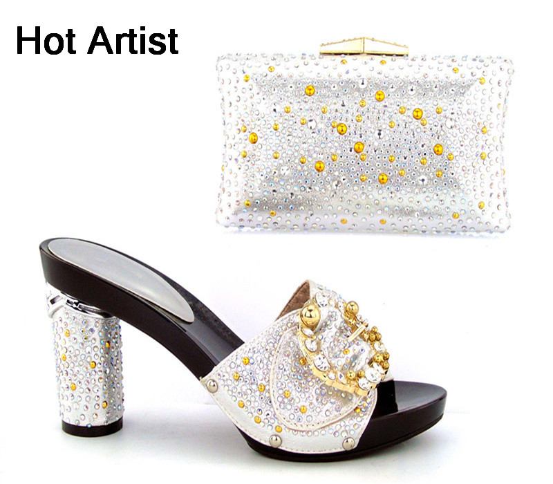 Hot Artist New Arrival Italian Design Shoes And Evening Bag Set Fashion High Quality Slipper Shoes And Bag Set For Party TH16-43 capputine new arrival fashion shoes and bag set high quality italian style woman high heels shoes and bags set for wedding party