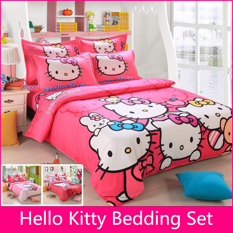Bedding Set Children Cotton Bed sheets Hello Kitty Duvet Cover Sheet Pillowcase King/Queen/Twin 4Pcs BS35 100% mulberry silk pure naturals blanket quilt bedclothes duvet filling for winter summer king queen twin size white red color