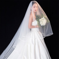 Long Cathedral Bridal weeding Veils 3.5m white Ivory Tulle Veil with comb Satin edge Voiles Mariage velos de novia 2019 Satin