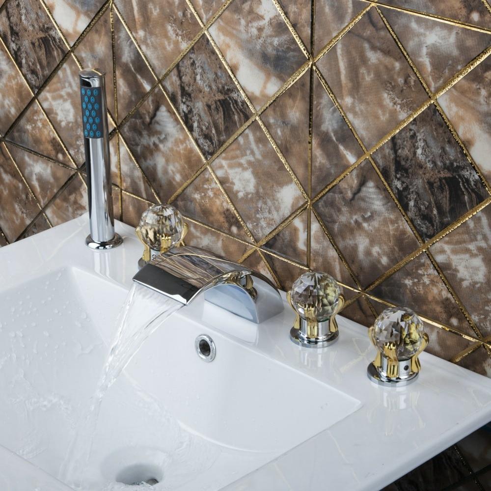 11TT2 Bathroom Sink Chrome Diamond Golden Hand+Waterfall Spout Brass Body+Handheld Shower 5pcs Bathtub Mixer Tap Faucet Set chrome brass finish 5 pcs long spout waterfall bathtub sink tap bathroom mixer hand held tub mixer faucet set