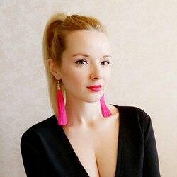 Lzhlq Винтаж этнические длинные серьги с кисточками женские 2020 модные брендовые ювелирные изделия геометрический сплав покрытие простые вис...