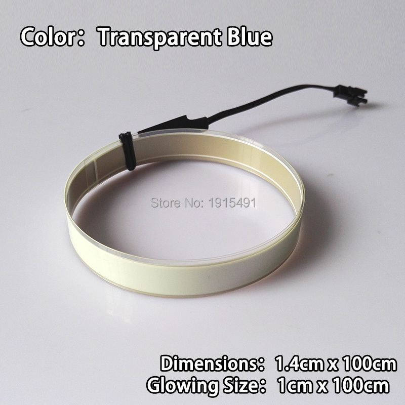 New Arrival 1.4x100cm Sky Blue EL Tape Gorgeous Colorful Neon Glowing Led Strip Not Include Converter for Auto Atmosphere Lamp ...