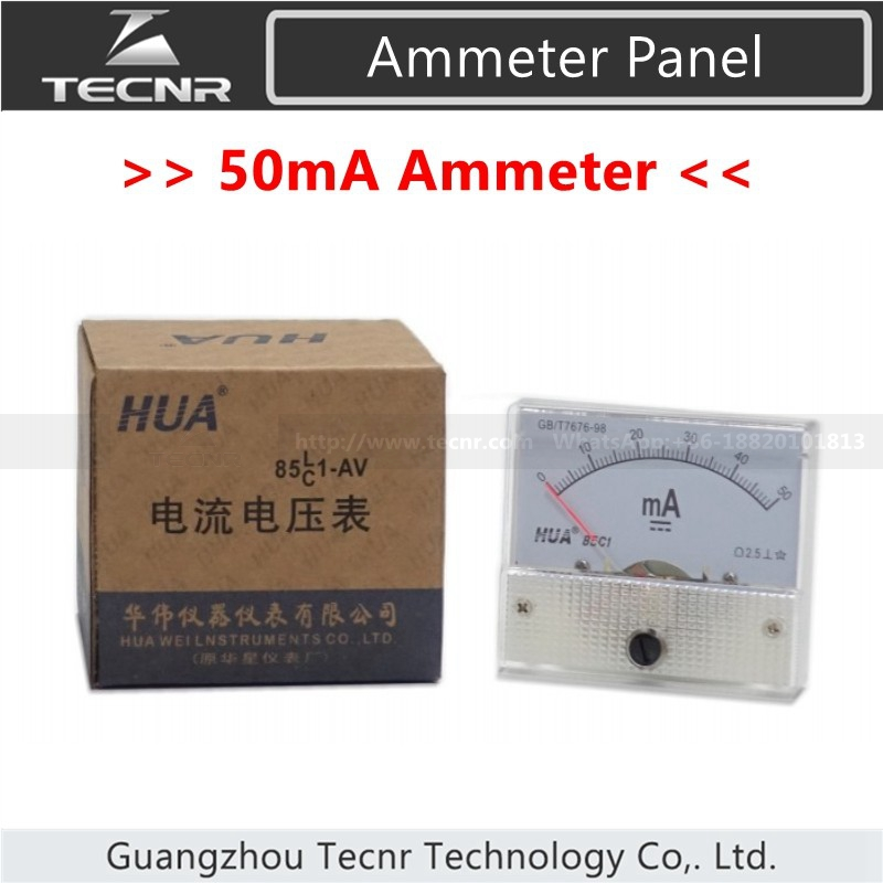 50mA Ammeter DC 0-50mA Analog Amp Meter Current  HUA 85C1 For Laser Engraving Machine