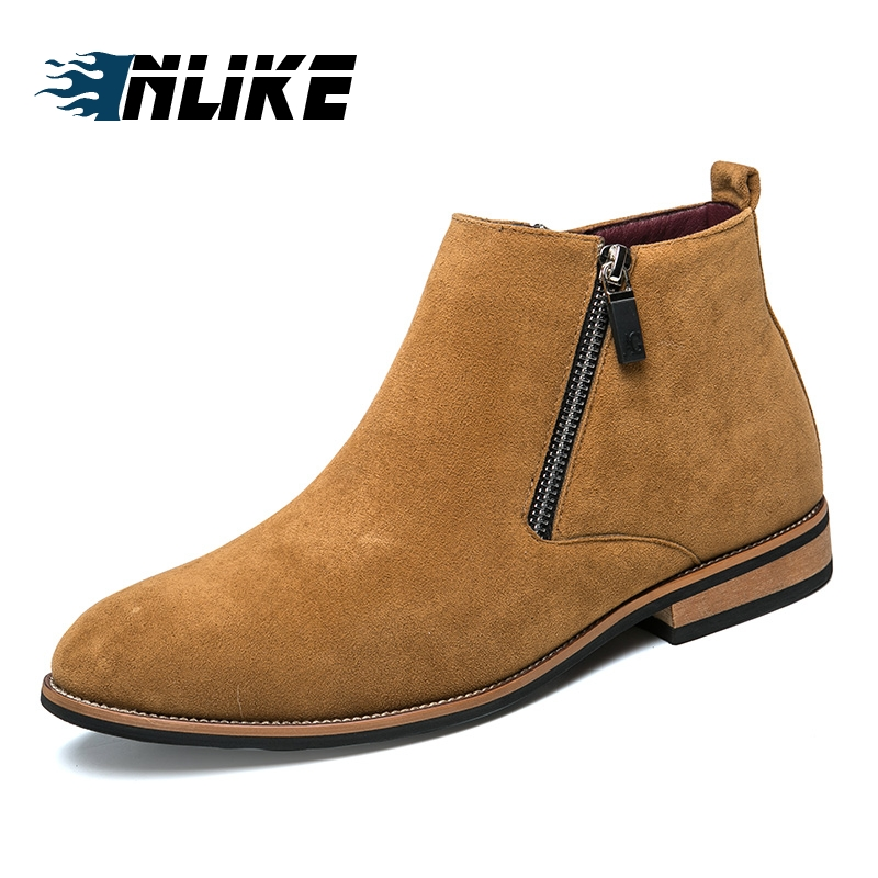 INLIKE Business Boots Mens Winter Ankle Boots Men Leather Double Zipper Side Boots Dress ShoesINLIKE Business Boots Mens Winter Ankle Boots Men Leather Double Zipper Side Boots Dress Shoes