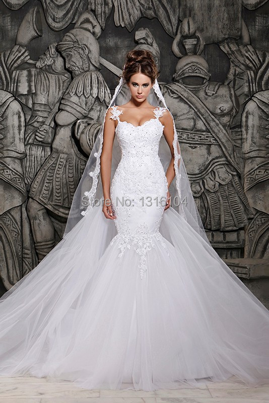 2 In 1 Detachable Train Lace Mermaid Wedding Dresses With Removable Train See Through Sexy Open Back Bridal Gowns Beaded Lace