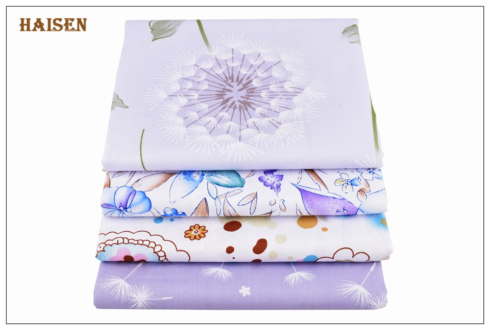 Haisen,8pcs/lot Purple flowers series Twill Cotton Fabric,Patchwork Cloth,DIY Baby&Child Sewing Quilting Fat Quarters Material