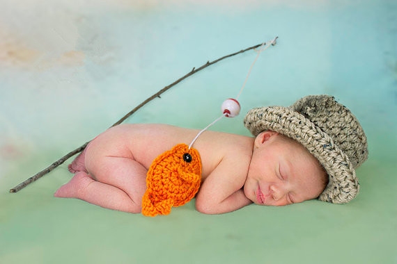 36210c9a9 Baby Boy Fishing Hat w Fish SET Newborn Crochet Photo Prop Boys Girls  Clothes ADORABLE Perfect for All Seasons Mather's Day Gift-in Hats & Caps  from Mother ...