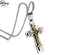 NFS Men S Stainless Steel Large Fleur De Lis Cross 3 Tone Pendant Necklace 24 Chain