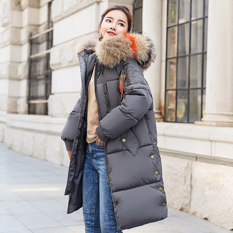 KUYOMENS New Full Solid 2018 Women's Mid-long Winter Jacket Stand Collar Hood Design Oversize Real fur Thick Coat Parka