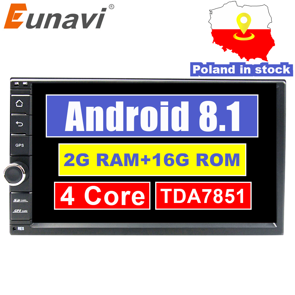 Eunavi Universal 2 din Quad core 7'' Android 8.1 Car Radio Stereo multimedia Player WIFI 2din GPS Navigation USB SWC TDA7851
