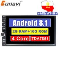 Eunavi Universal 2 din Quad core 7'' Android 8.1 Car Radio Stereo multimedia Player WIFI 2din GPS Navigation USB SWC TDA7851