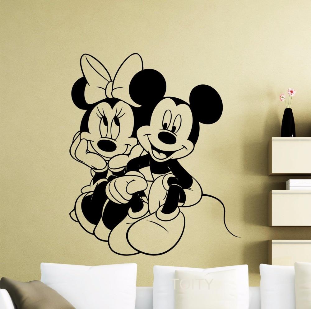 Cartoon Mickey and Minnie Mouse wall art,Cute Animal Vinyl Wall ...