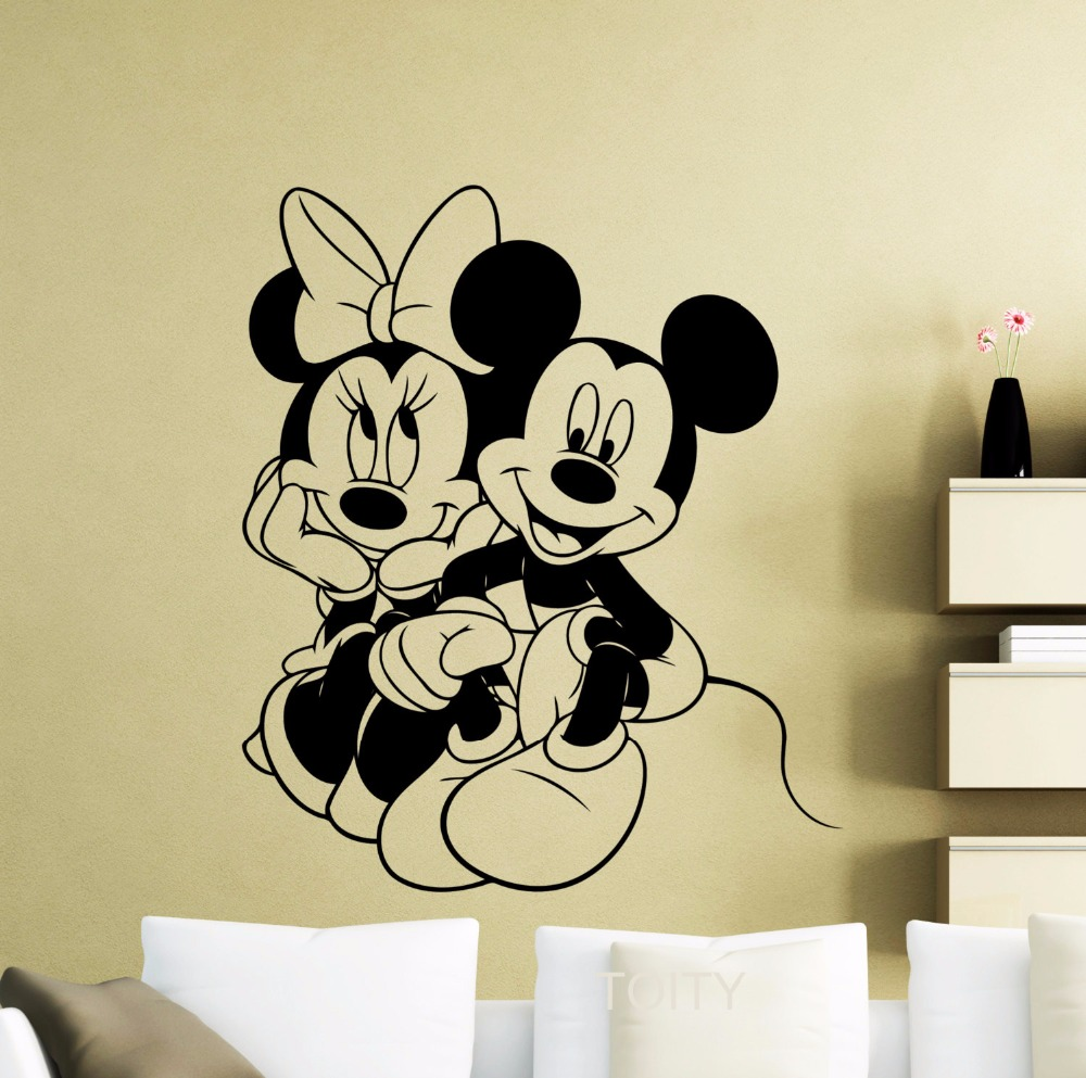 buy mickey mouse wall sticker cartoon minnie poster vinyl decal home kids girl. Black Bedroom Furniture Sets. Home Design Ideas