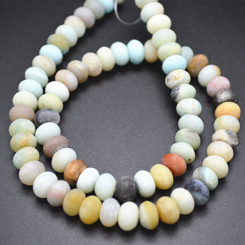 Natural Mix Color Matte Amazonite Rondelle Spacer Loose Beads 3x6mm 5x8mm 6x10mm Fit Fashion Jewelry Making Free Shipping