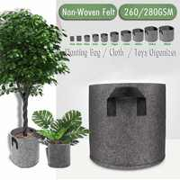 Tessuto Non Tessuto di Feltro 1-30 Gallon Tessuto Borse e ripari per piantumazione Traspirante Vasi Planter Root Del Sacchetto Contenitore Pianta Smart Vasi con maniglie Giardino Su