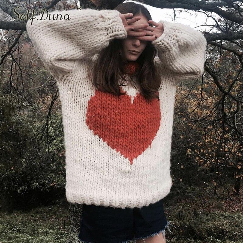 Auto Duna automne hiver demi pull à col roulé pull chaud tricot noël pull amour noir blanc femmes tricoté pull - 4