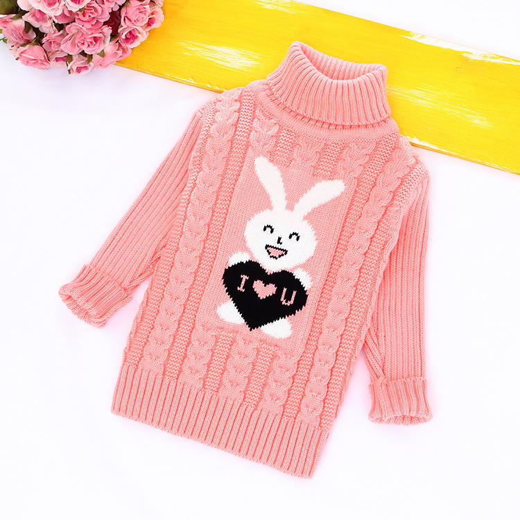 Unini-yun Girls Sweater Rabbit Easter Autumn 3t4t5t6t Baby Girl Sweater Baby Long Sleeve Turtleneck Winter Sweaters For Girls sundae angel baby girl sweater kids boy turtleneck sweaters solid winter autumn pullover long sleeve baby girl sweater clothes
