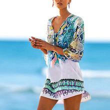 New Beach Caftan Swimsuit Cover Up Sexy Sarong Tunic Beachwear Praia Print Chiffon Pareo Women Robe Plage Swimwear Dress