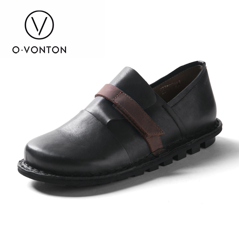 Q.VONTON Autumn Women Comfortable Genuine Cow Leather Shoes Ladies Slip on Flats Ladies' Fashion Round Toe Shoes spring autumn women loafer pointed toe pearl comfortable women flats shoes slip on fashion pu leather women s flat with shoes