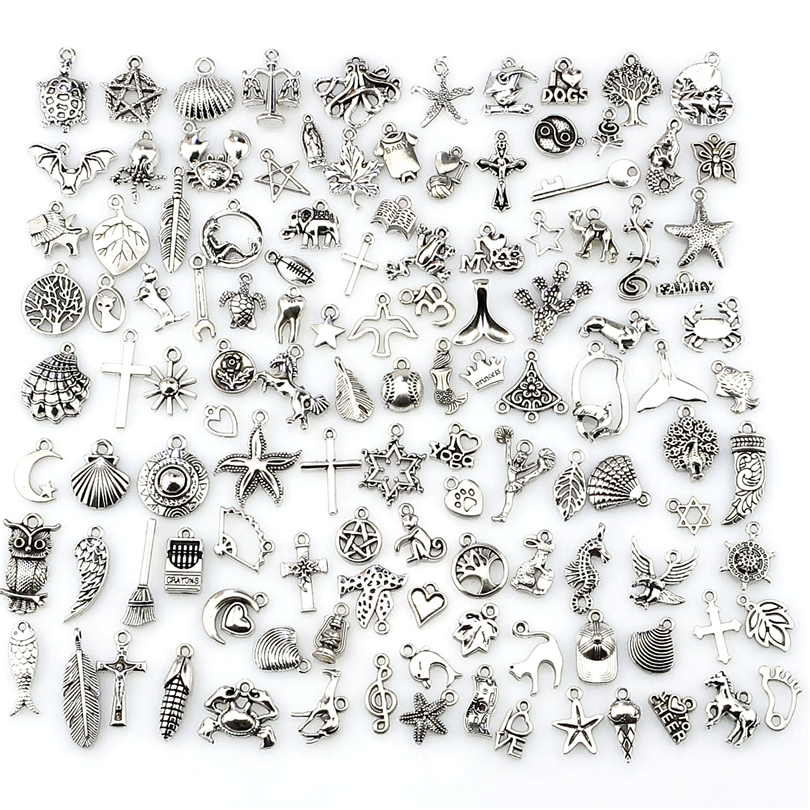 GLOWCAT Mix Charms 120pcs/lot Vintage Silver Mini Life