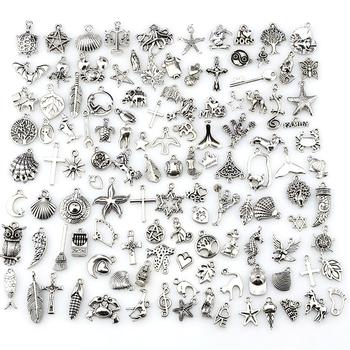 Mix Charms 120 sztuk partia Vintage srebrny Mini życie rzecz wisiorek DIY tworzenia biżuterii 22432 tanie i dobre opinie Moda Ze stopu cynku Śliczne Romantyczny Metal GLOWCAT Life Vintage Silver Alloy 127g