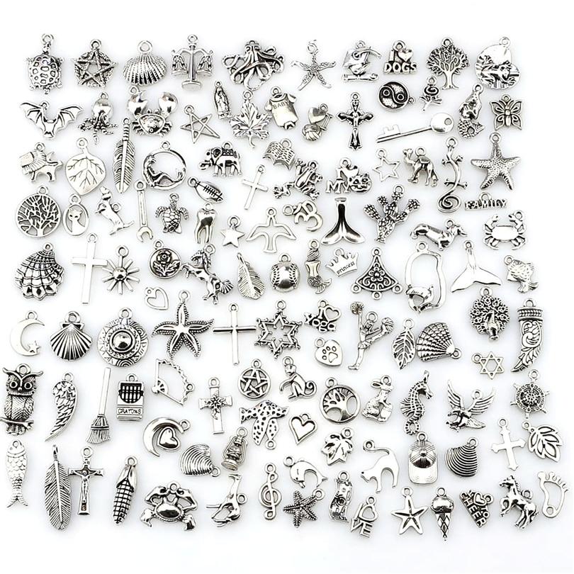 Mix Charms 120pcs/lot Vintage Silver Mini Life Thing Pendant DIY Jewelry Making 22432(China)