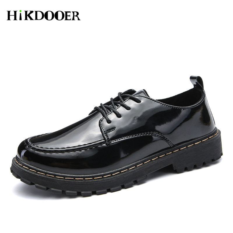 2020 Casual Patent Leather Motorcycle Boots Men Black Dr Martins Shoes Male Waterproof Boots Work Safety Shoes