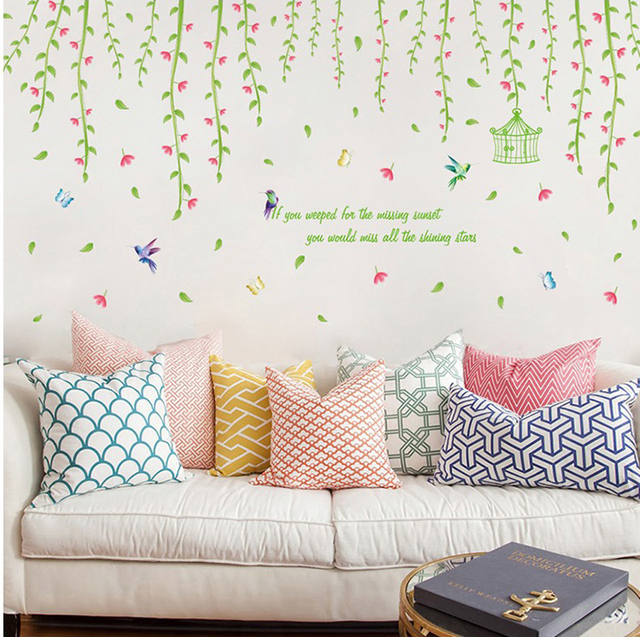 Flower Rattan Vine Birds Large Wall Stickers Home Decor Living Room Art Decals Wallpaper Removable