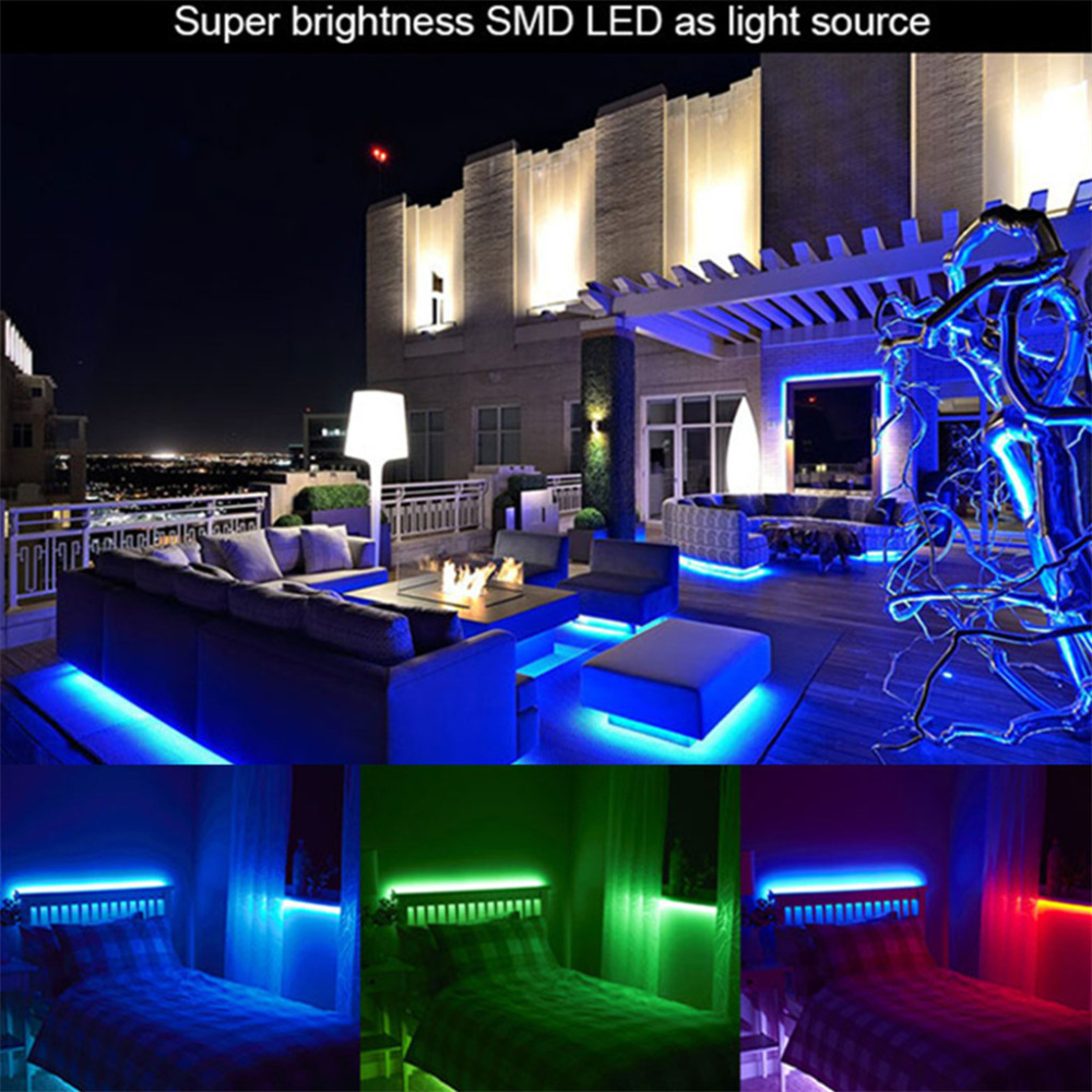 Excelvan 164ft 5m flexible strip smd3528 rgb 300leds color changing excelvan 164ft 5m flexible strip smd3528 rgb 300leds color changing led light strip kit with 44key ir remote control2a adapter in led strips from lights aloadofball Image collections
