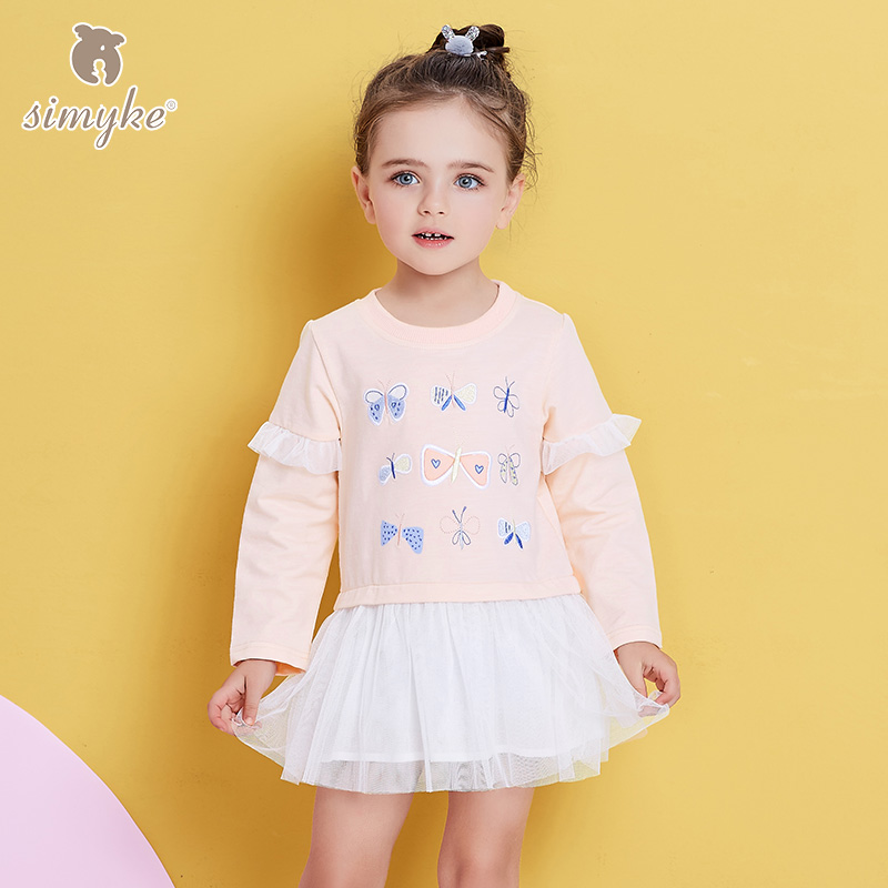Simyke Kids Dress For Girls With Long Sleeve Girl Pink Tutu Dress 2018 New Spring Toddler Lace Dresses Children's Clothes W8309 star dress for girl european style bow tutu dress long sleeve mesh girls dresses leisure holiday kids clothes pink black