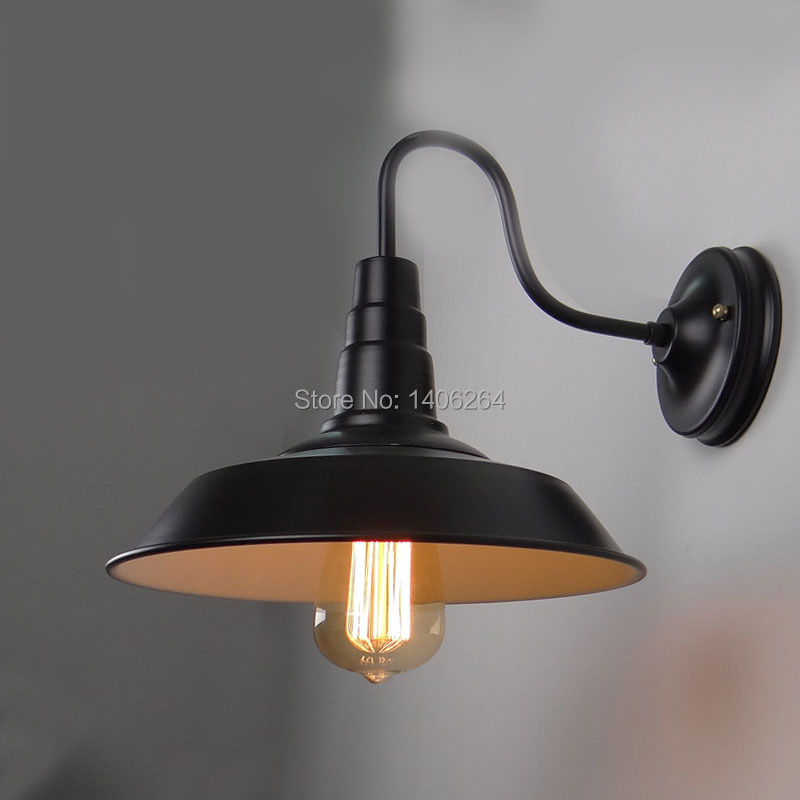Edison American Nordic Industrial Wrought Iron Black/White Wall lamp For Cafe Bar Hall Coffee Shop Club Store Restaurant Balcony