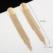 New Charming Gold Plated Simple Round Metal Long Tassels Stud Earrings For Women Anniversary Party Jewelry Accessories E260