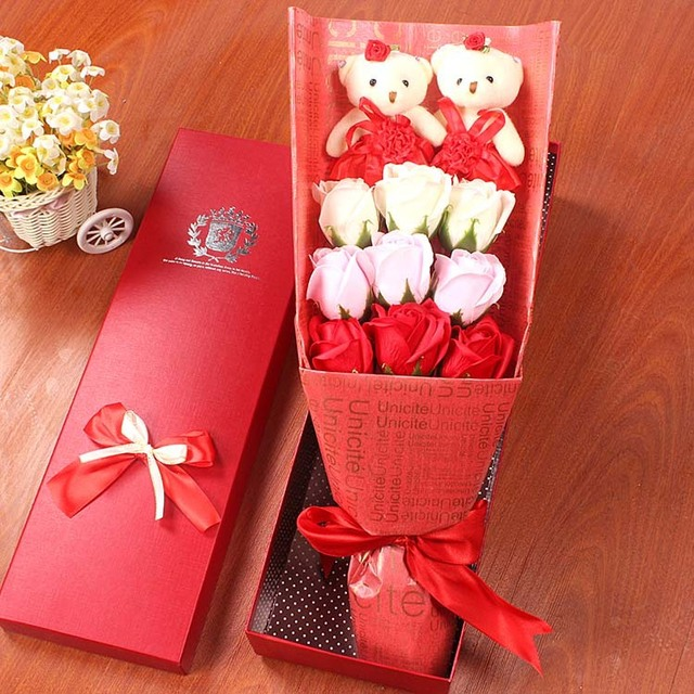 48cm Romantic Bear Flower Bouquet Stuffed Plush Doll Baby Cute Teddy Bears Toy Lover's Valentine's Day Christmas Wedding Gifts