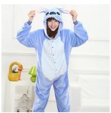 All in one flanella anime pijama fumetto cosplay caldo facile per il bagno adulto unisex homewear onesies animale pajamas stitch