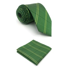 B19 Green Checkes Silk Wedding Mens Necktie Tie Fashion Classic Ties for male Dress Hanky extra long size