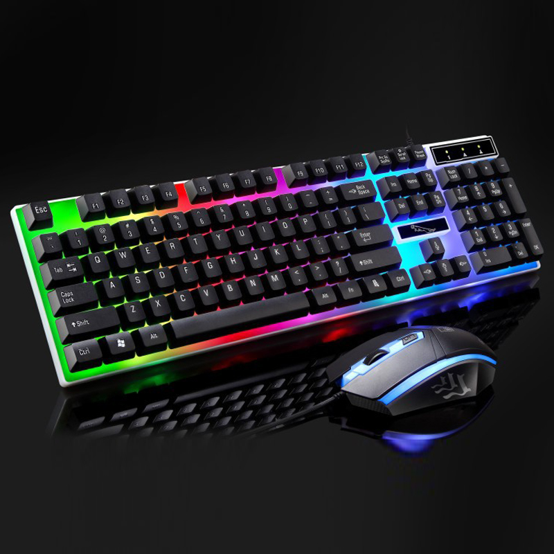 PARASOLANT Wired USB LED Light Keyboard And Mouse Set White Black Laptop Computer Colorful Gaming Backlit Keyboard Mouse Combos one up m 790 usb wired gaming mouse white