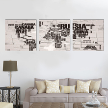 Modern letters square canvas painting art prints 3 psc Europe deco wall pictures for living room cafe restaurant bar shop